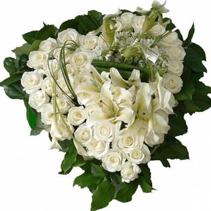 Heart Shaped Arrangement of Mixed Flowers