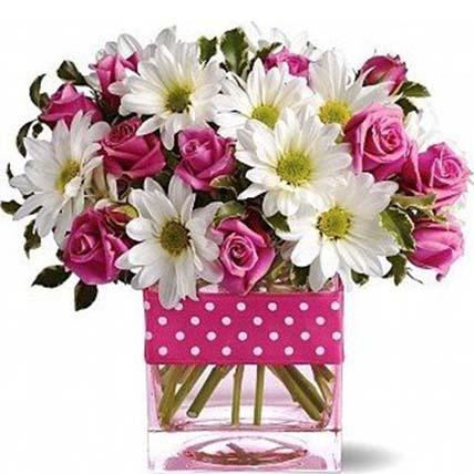 Vase Arrangement of Roses Daisies Or Gerberas