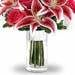 Mixed Warm Flowers Bunch In Glass Vase