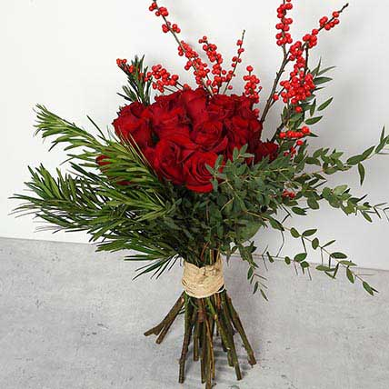 Red Roses and Ilex Berries Bouquet JD