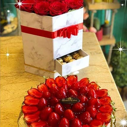 Luxurious Red Roses & Cheesecake