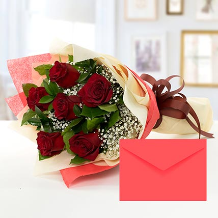 6 Red Roses Bouquet With Greeting Card KT