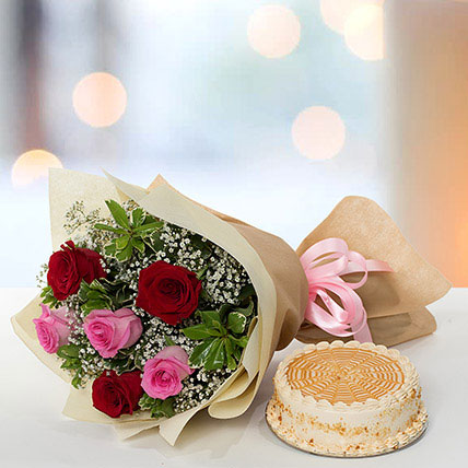 Delightful Roses Bouquet With Butterscotch Cake KT