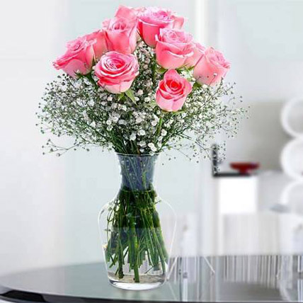 Glorious 12 Pink Roses KT