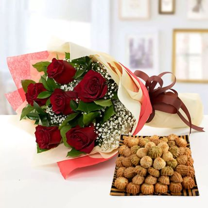 6 Red Roses With Maamoul Sweet 1 Kg