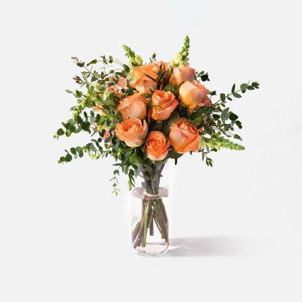 Blooming Peach Rose & Snapdragon Vase Arrangement