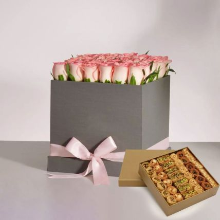 Pink Roses Box With Mix Half Kg Baklava Sweets