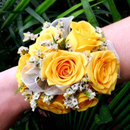 Vivid Yellow Roses Corsage