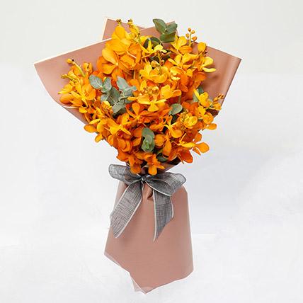 10 Orange Mokara Orchids Bunch