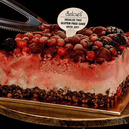 5in Square Mixed Berry Nutty Ice Cream Cake