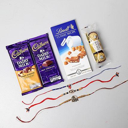 Auspicious Rakhis And Chocolates Combo