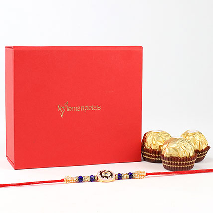 Beautiful Designer Rakhi And Ferrero Rocher Combo
