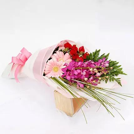 Beautiful Roses and Mokara Orchids Mixed Bouquet