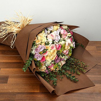 Bouquet of Pastel Coloured Roses