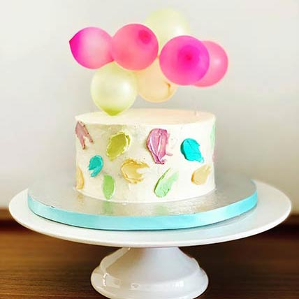 Colorful Balloons Coffee Cake 9 inches Eggless