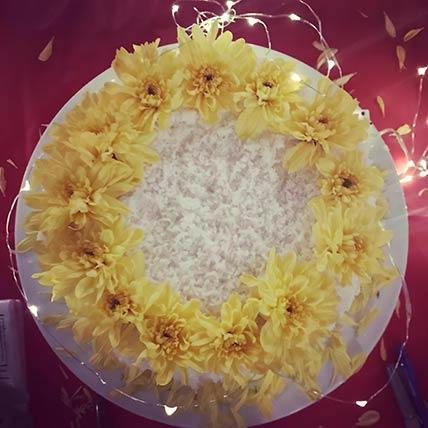 Fresh Flower Coconut Lemon Cake 6 inches