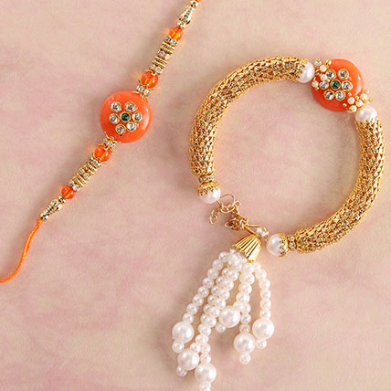 Glittering Orange Lumba Rakhi Set