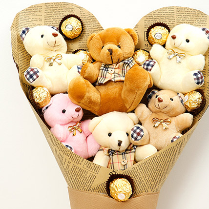 Heart Shaped Teddy Bear and Chocolate Bouquet