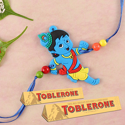 Little Krishna And Toblerone Rakhi Combo