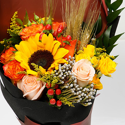 Mixed Orange and Yellow Flower Bouquet