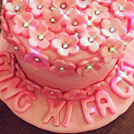 Pink Floral Coffee Cake 6 inches