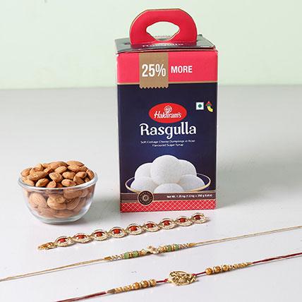 Rasgulla And Almonds With Designer Rakhis
