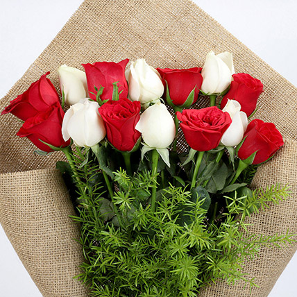Red and White Roses in Jute Wrapping