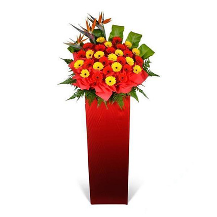 Red and Yellow Gerberas Stand