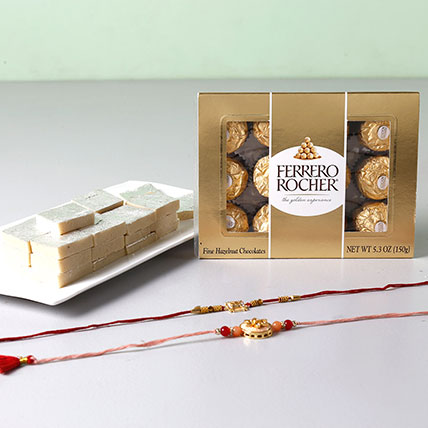 Set Of 2 Embellished Rakhis And Rocher Combo