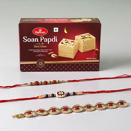 Soan Papdi And Set of 3 Fancy Rakhis
