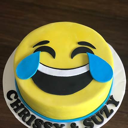 Tears Of Joy Emoji Vanilla Cake 8 inches Eggless