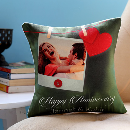 Personalised Anniversary Heart Cushion