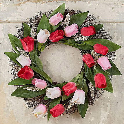 Beautiful Wreath Of Tulips and Veronica