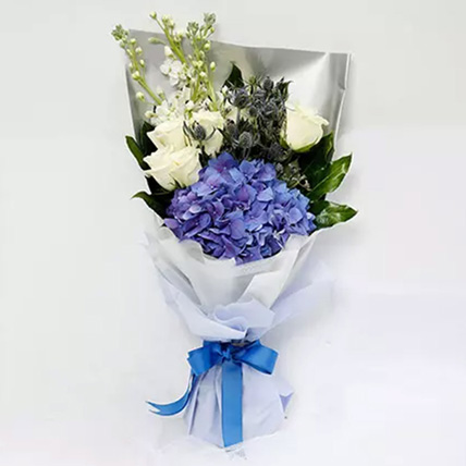 Elegant Bouquet Of Blues and Whites