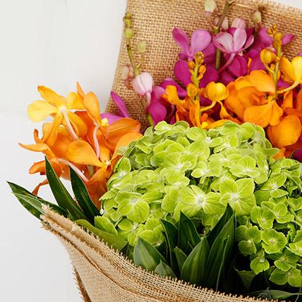Mokara Orchids and Hydrangea Bouquet