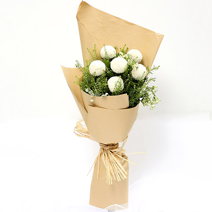 Elegant Bouquet Of White Ball Mums