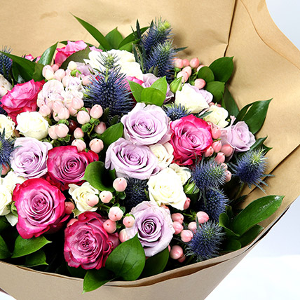 Exotic Roses and Hypericum Mixed Bouquet