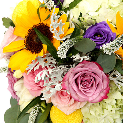 Vivid Roses and Sunflower Mixed Flower Vase