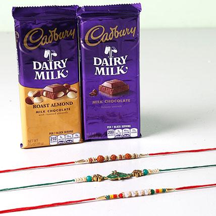 Combo Of Cadbury Dairy Milk And 3 Rakhis