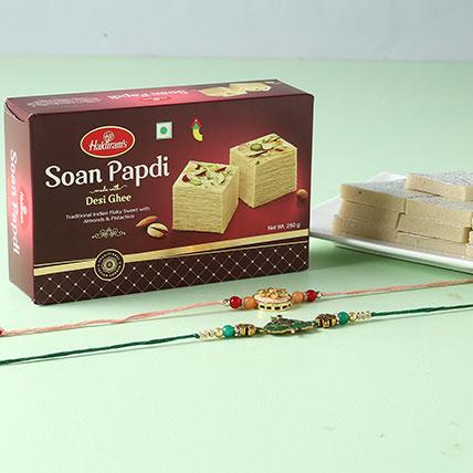 Designer Rakhi And Sweets Hamper