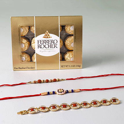 Rocher And Set of 3 Dazzling Rakhis