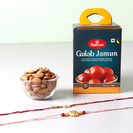 Set Of 2 Fancy Rakhis And Gulab Jamun Combo