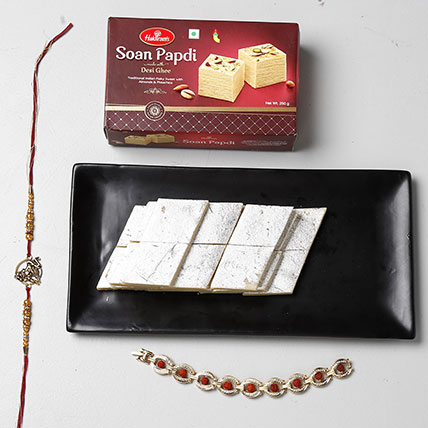 Soan Papdi And Kaju Katli With 2 Rakhis