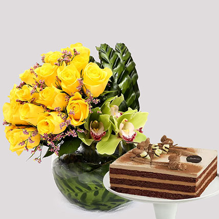 Deluxe Chocolate Cake and Yellow Rose Grace