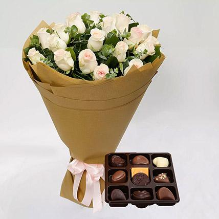 Godiva Chocolates and Peach Rose Bouquet