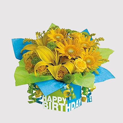 Greeting Card and Sunshine Floral Combo