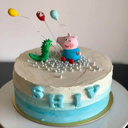 George and Dino Peppa Pig Red Velvet Cake 6 inches