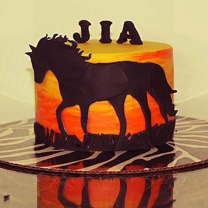 Horse Theme Chocolate Cake 9 inches