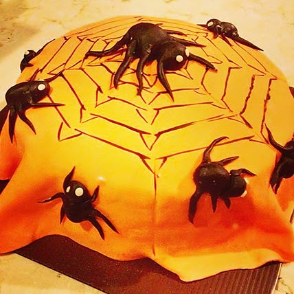 Spiders Web Theme Vanilla Cake 6 inches