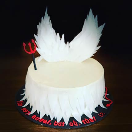 Angel and Devil Theme Vanilla Cake 6 inches Eggless
